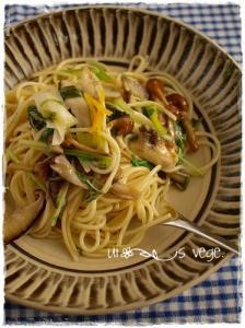 茸と水菜の和風パスタ