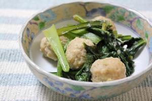 小松菜と鶏団子の塩ダレ炒め