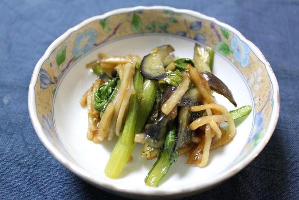 小松菜となすの炒めもの