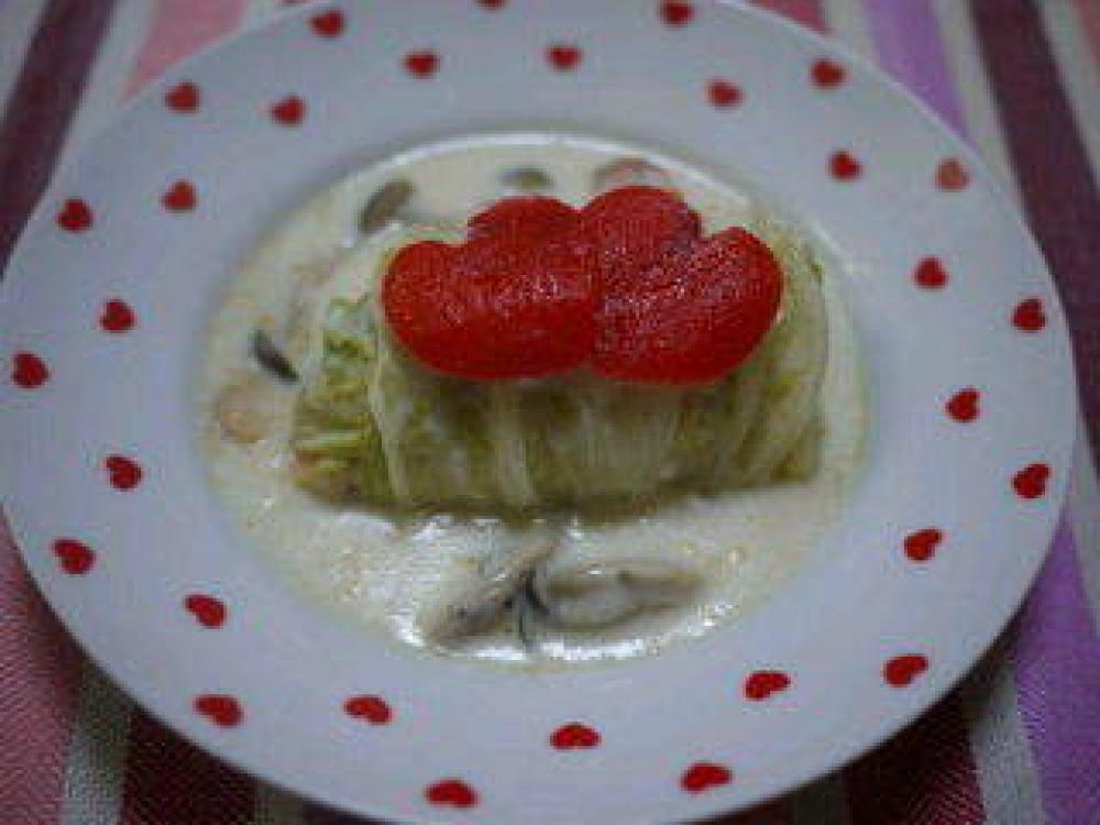 シーフードの白菜包みのクリーム煮