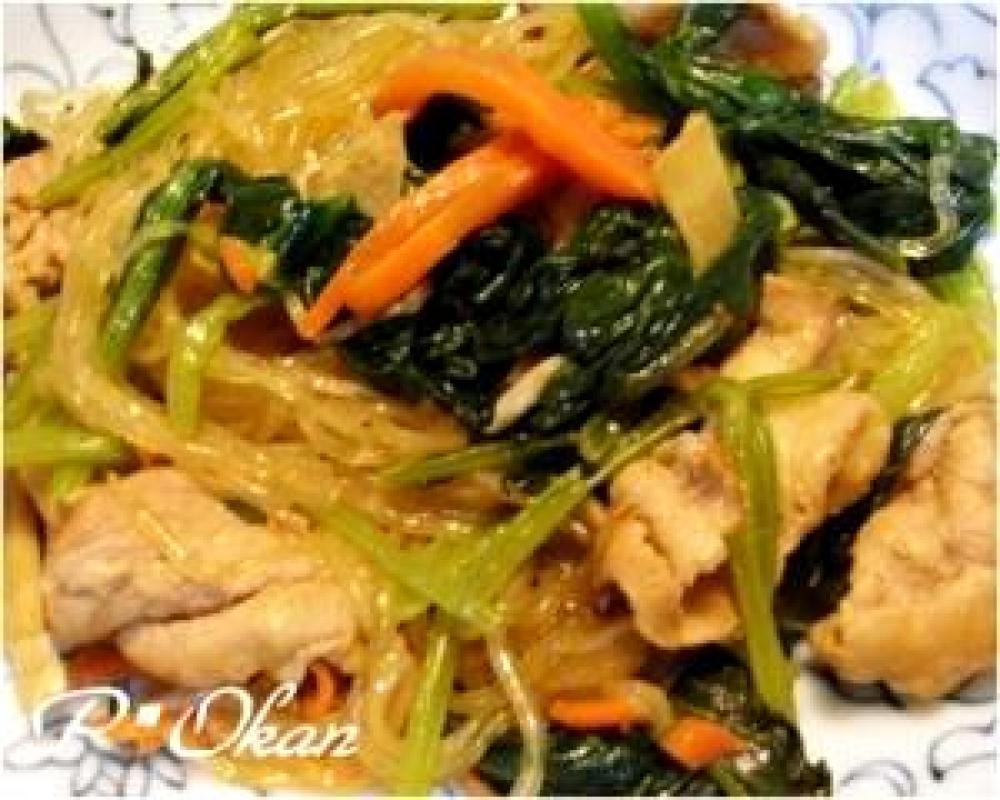 小松菜と豚肉入り春雨の炒め物
