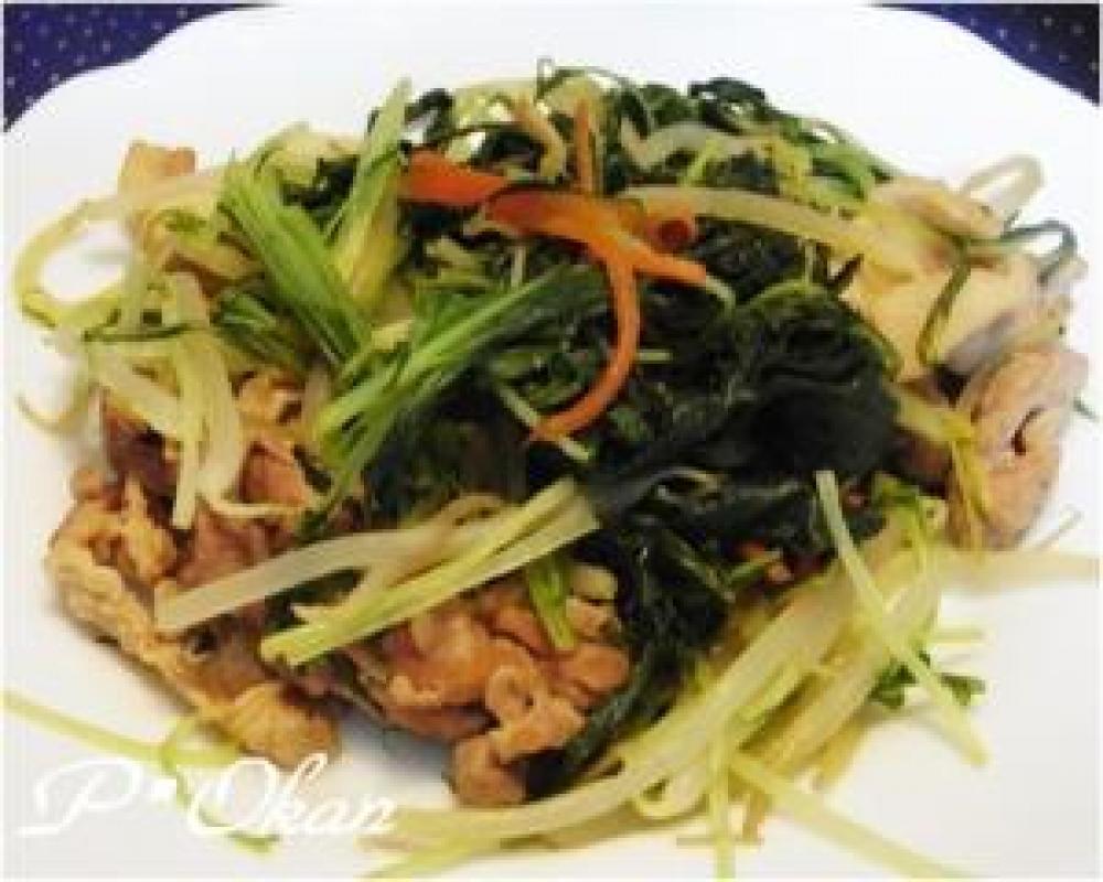 水菜と豚肉の生姜炒め