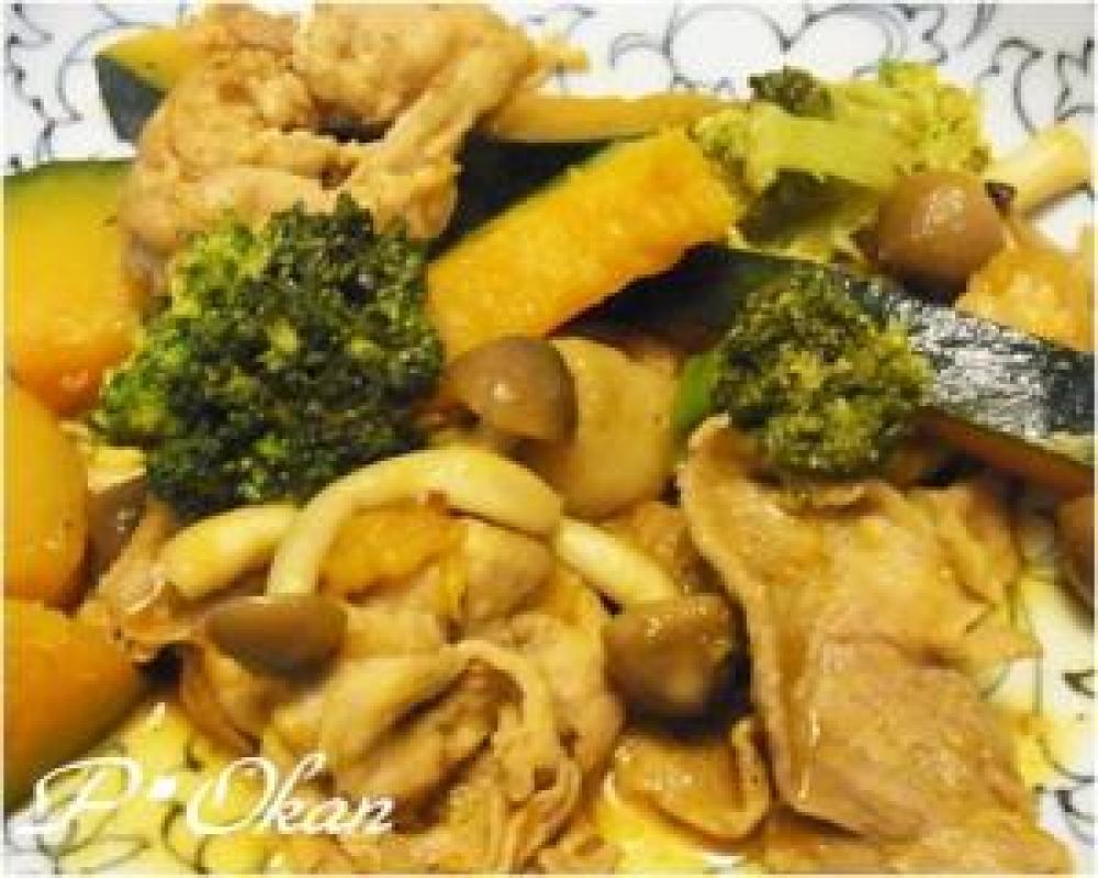 カボチャとブロッコリーの炒め物