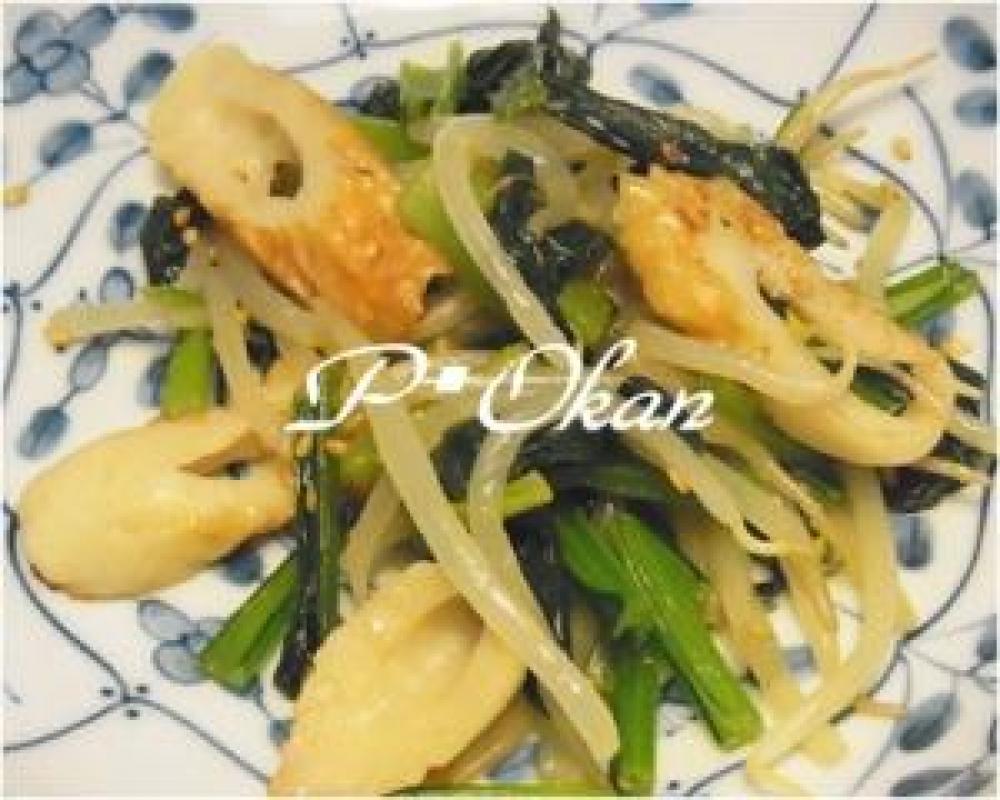 ピリ辛小松菜とチクワの中華風炒め物