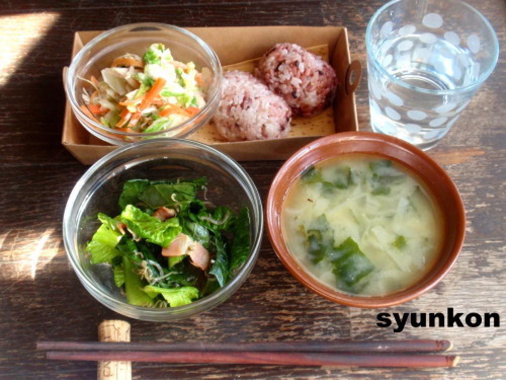 *小松菜とじゃこベーコンのサラダ