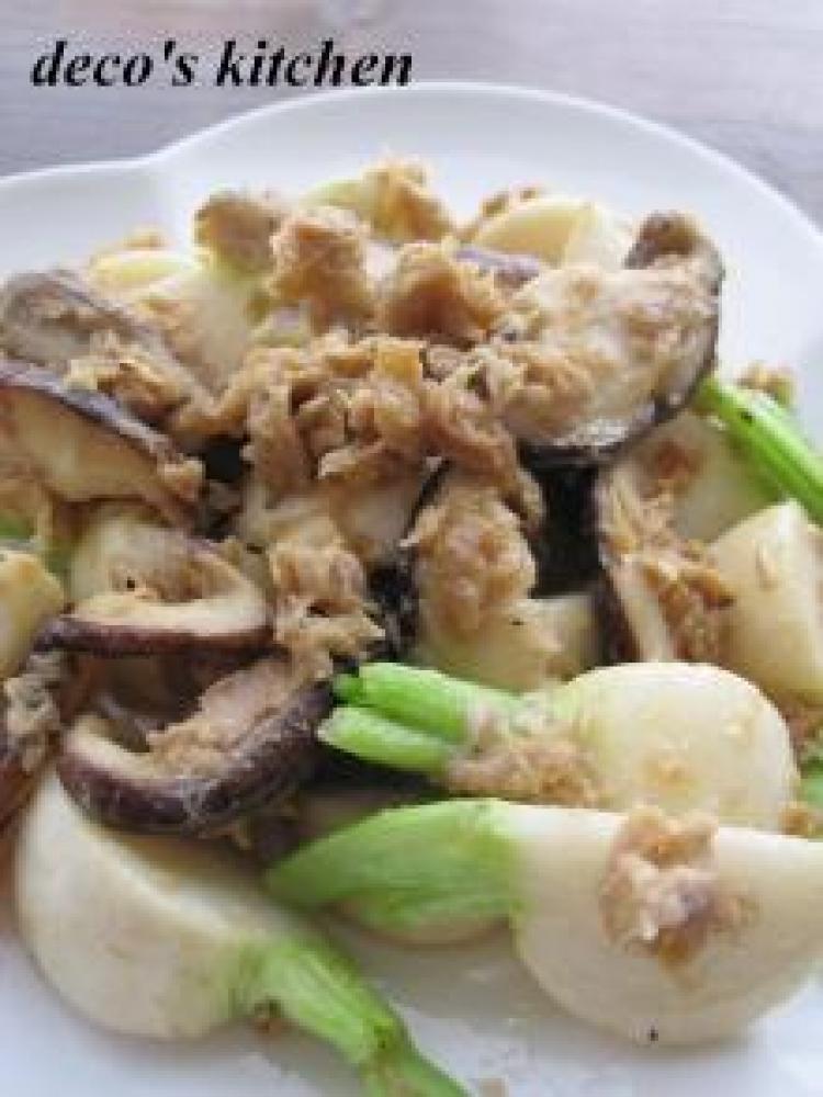 干した蕪と椎茸のガーリックマヨ炒め。