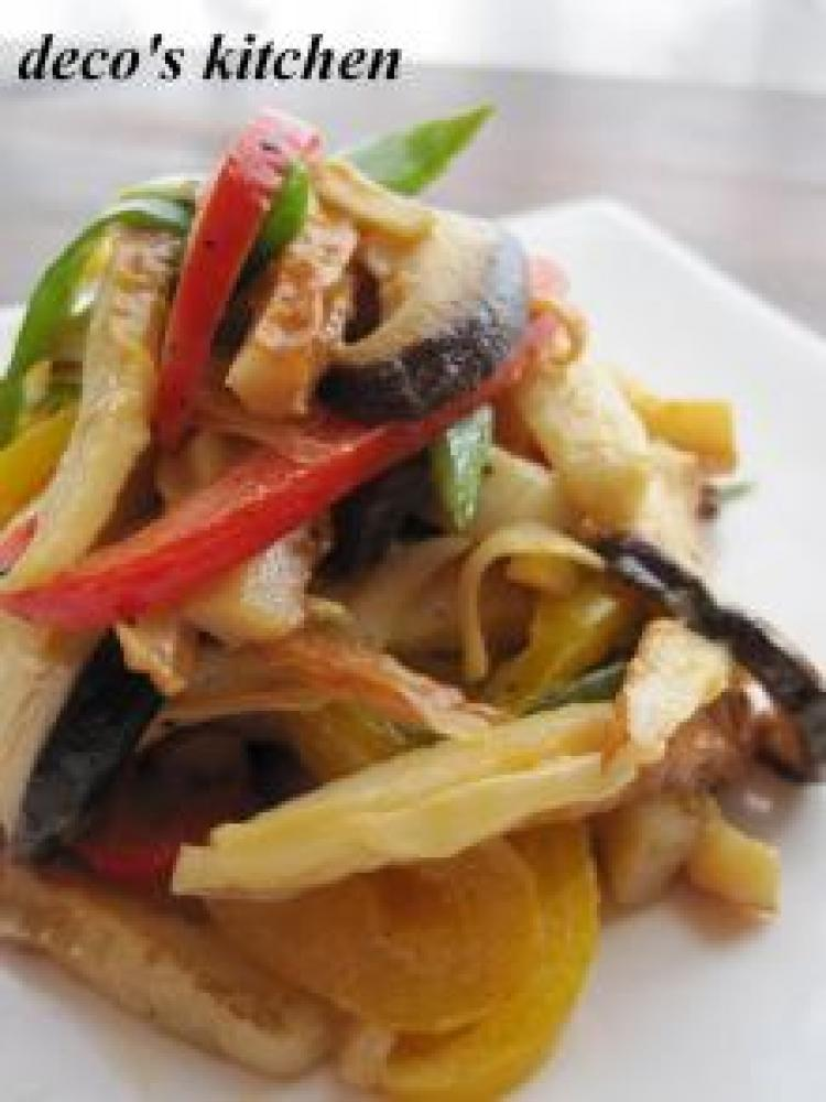 生姜の香り彩り野菜とちくわのオイマヨ炒め