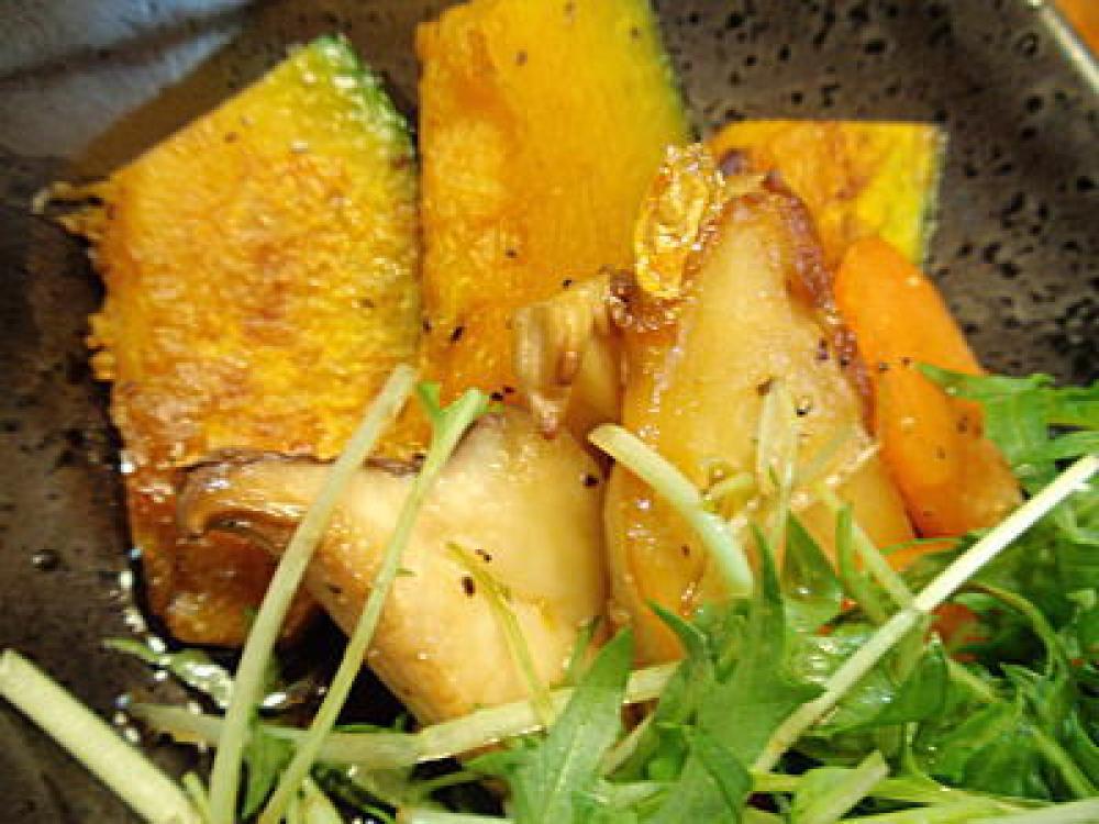 焼き野菜サラダの甘酢風ドレッシング
