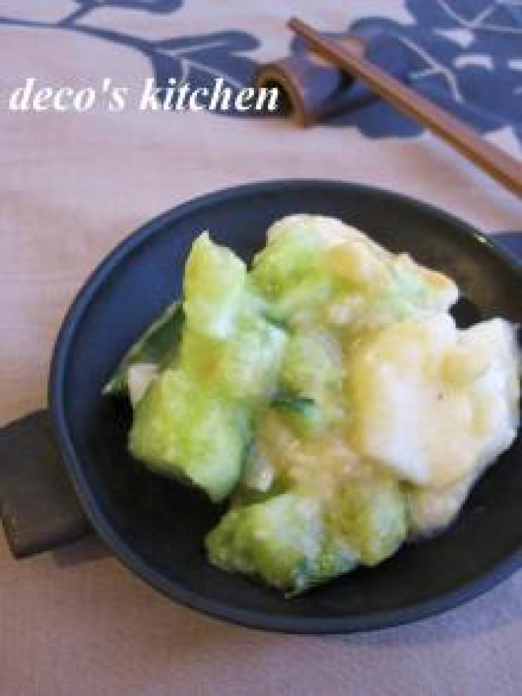 きゅうりと長芋のオリーブオイル味噌和え