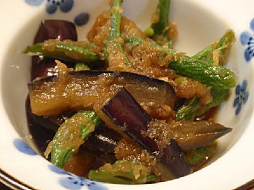 茄子といんげんの生姜煮