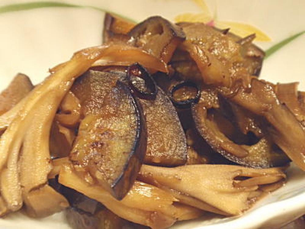 茄子と舞茸のピリ辛醤油炒め