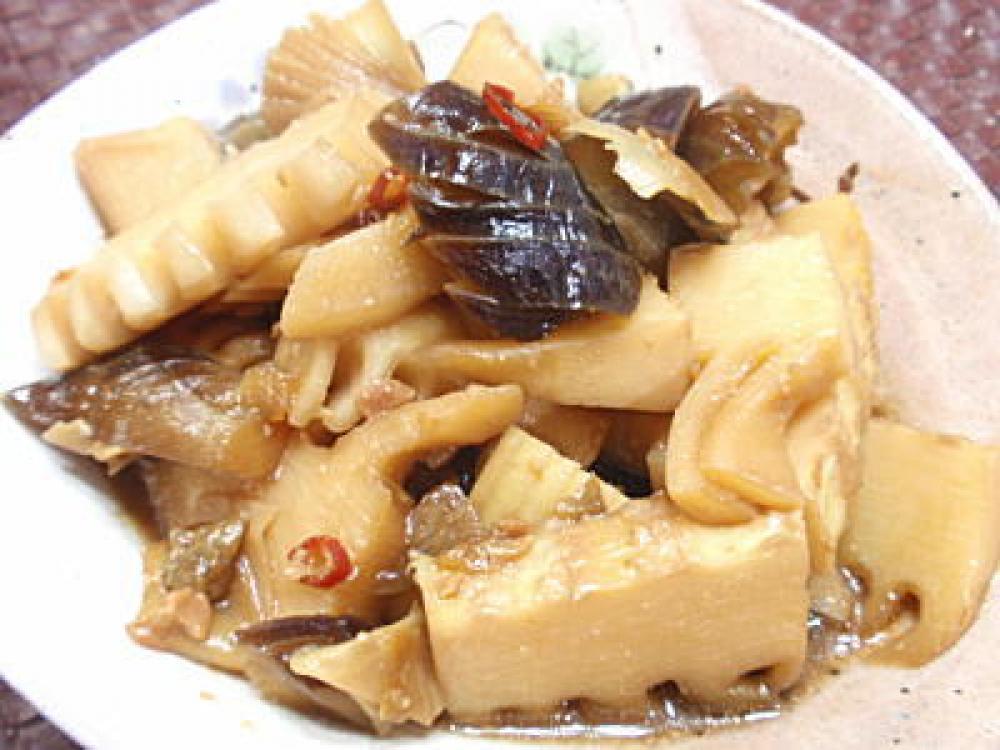 茄子とたけのこの中華風味噌煮