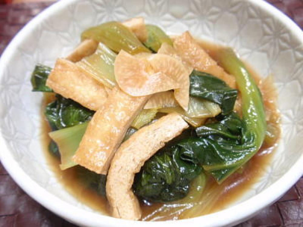 小松菜と油揚げの煮浸しガーリック風味