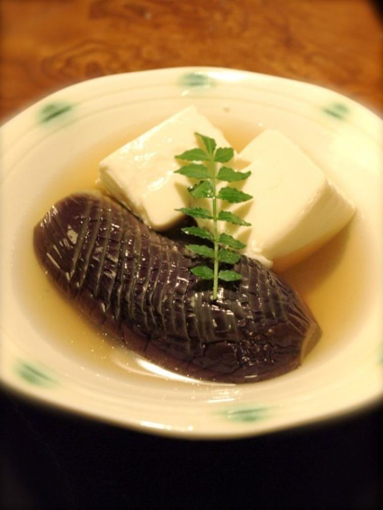 茄子と絹ごし豆腐の冷たい煮びたし