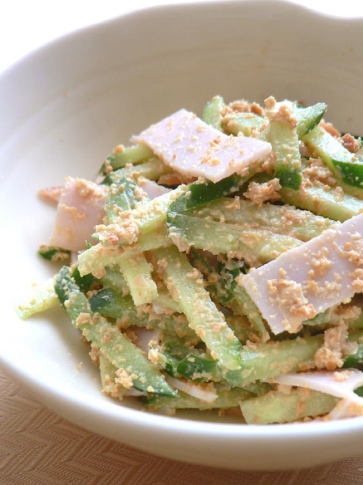 ハムと胡瓜の節分大豆ドレッシングサラダ