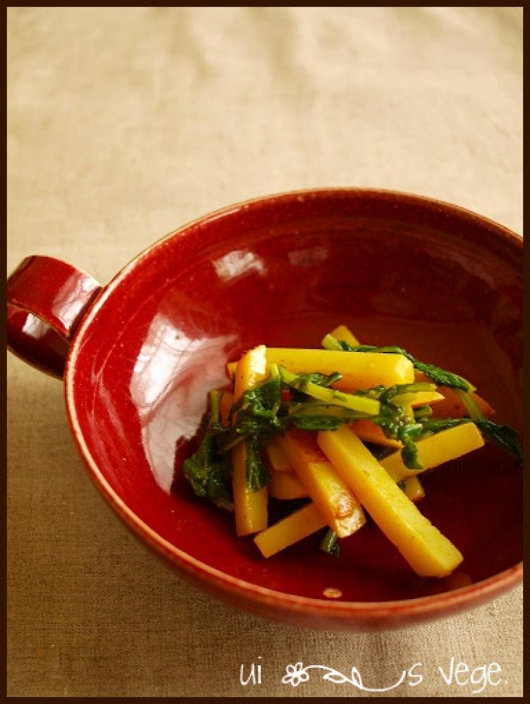 ジャガイモと大根葉カレー炒め