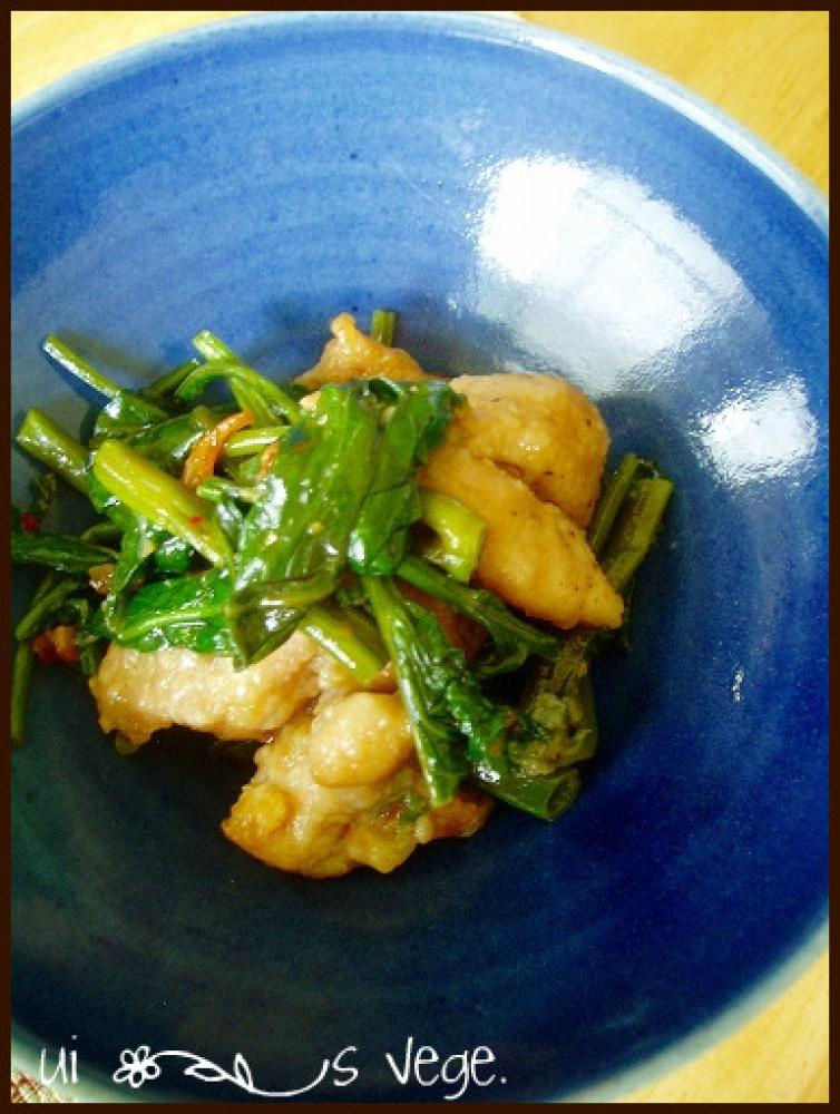 空芯菜と鶏肉のラー油炒め