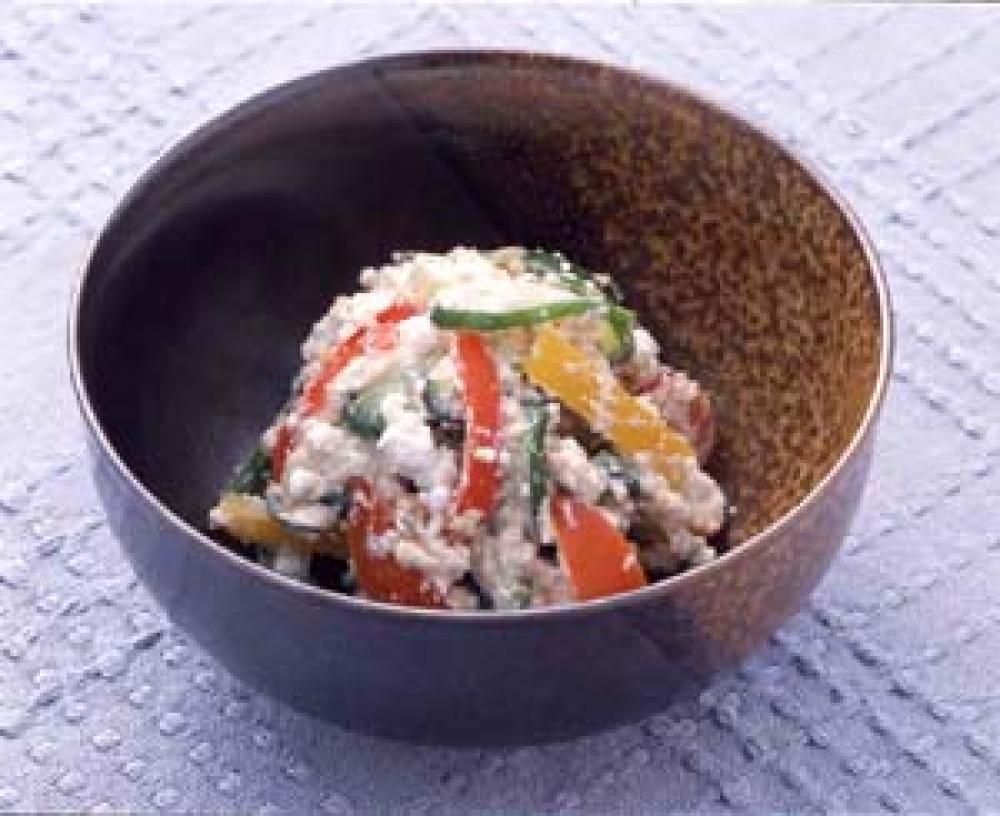 夏野菜とカッテージチーズの白和え