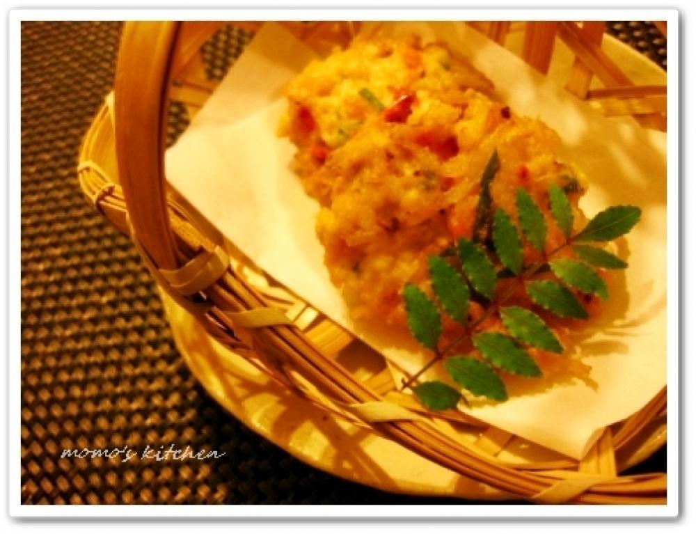 桜海老と紫蘇、豆腐のかき揚げ