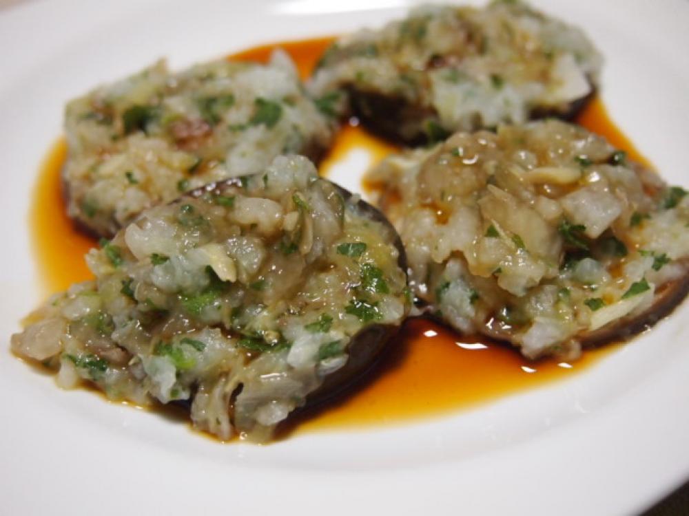 シイタケと長芋のさっぱり蒸し