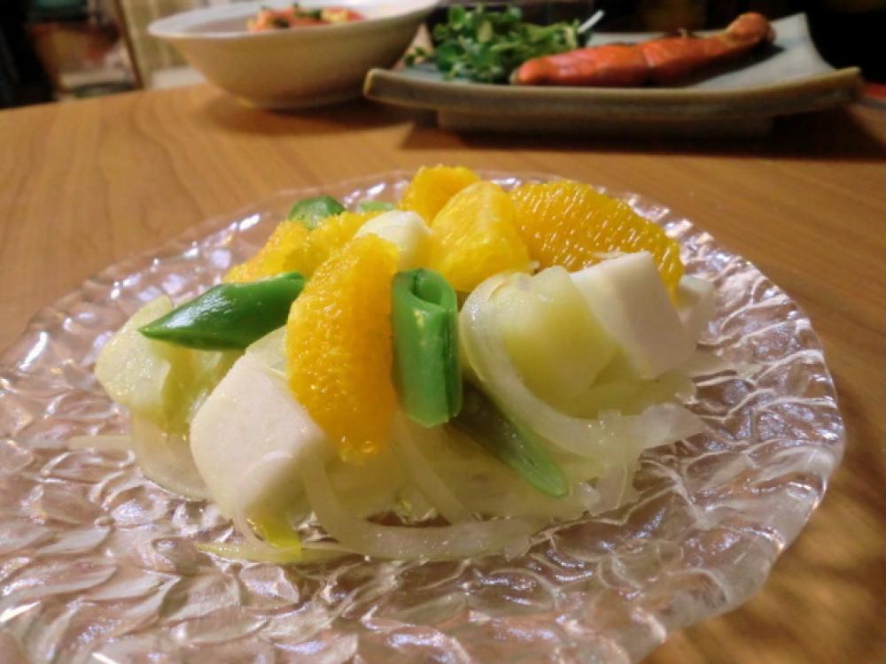 新玉ネギのオレンジサラダ