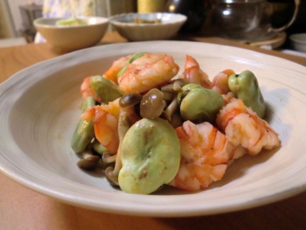 そら豆と海老のホットサラダ