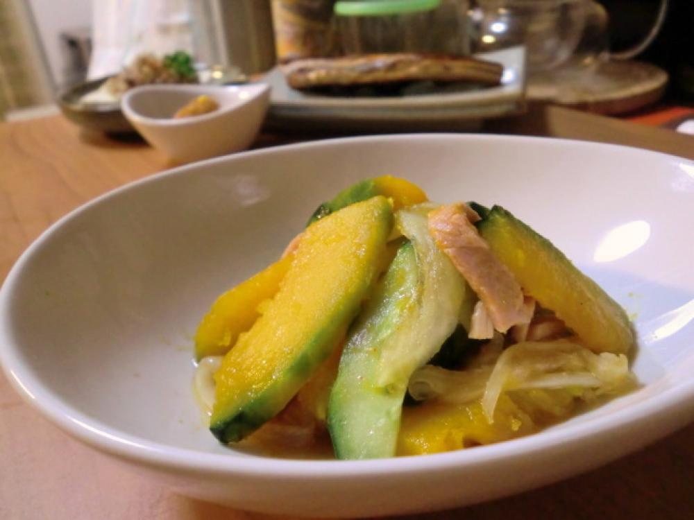 キュウリと南瓜のピリ辛マリネ風サラダ