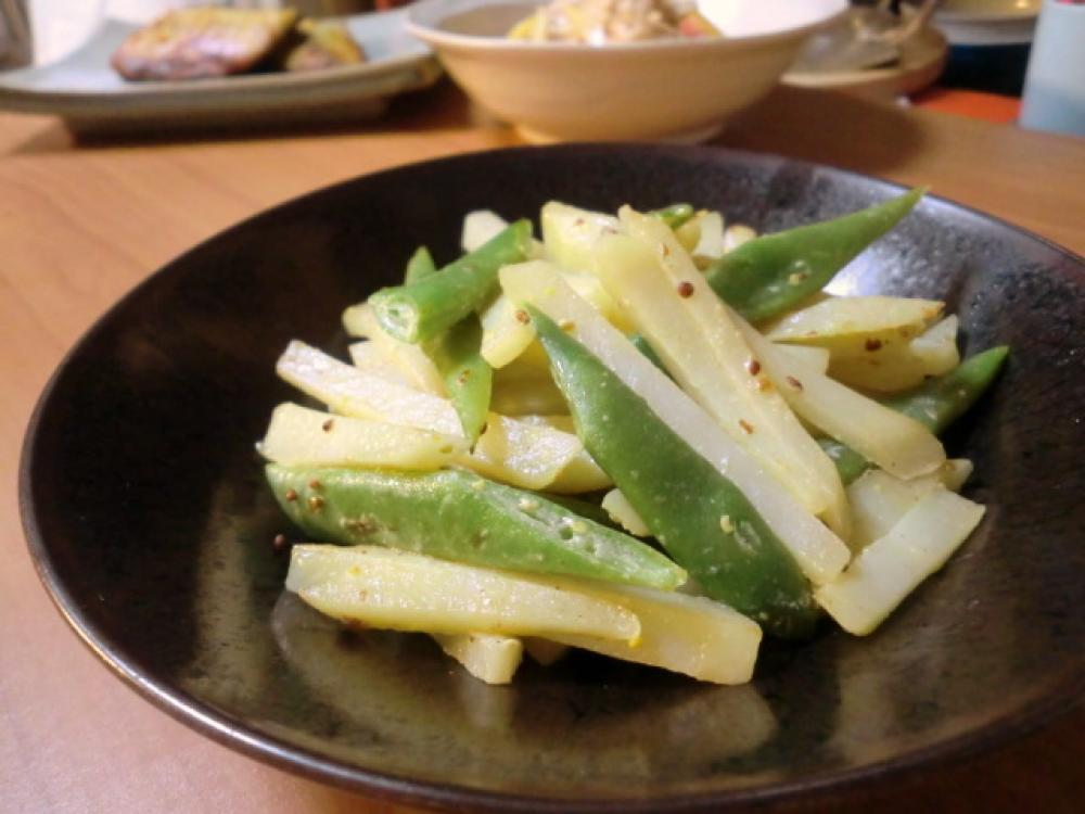 ポテトとインゲンのマスタード・マヨ炒め