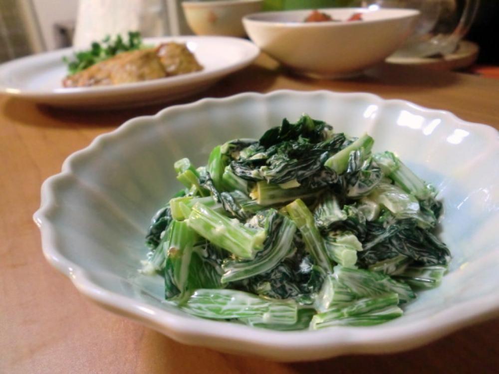 小松菜の生姜マヨ和え