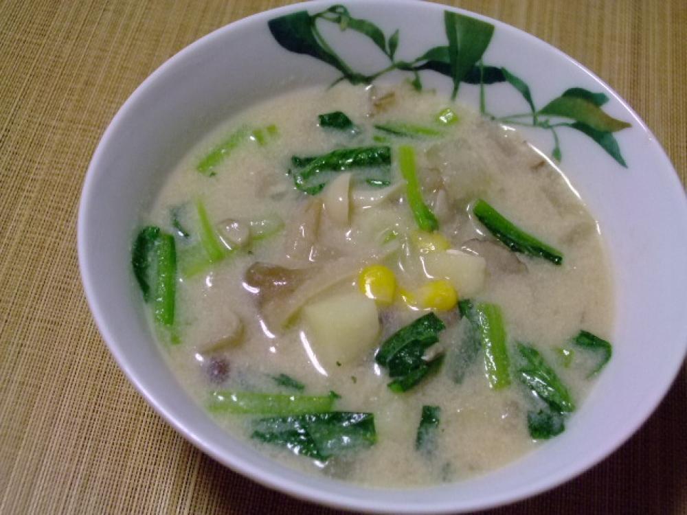たっぷりキノコと小松菜のミルクスープ