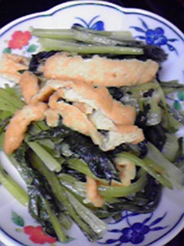 小松菜と油揚げの和風ドレッシング炒め♪