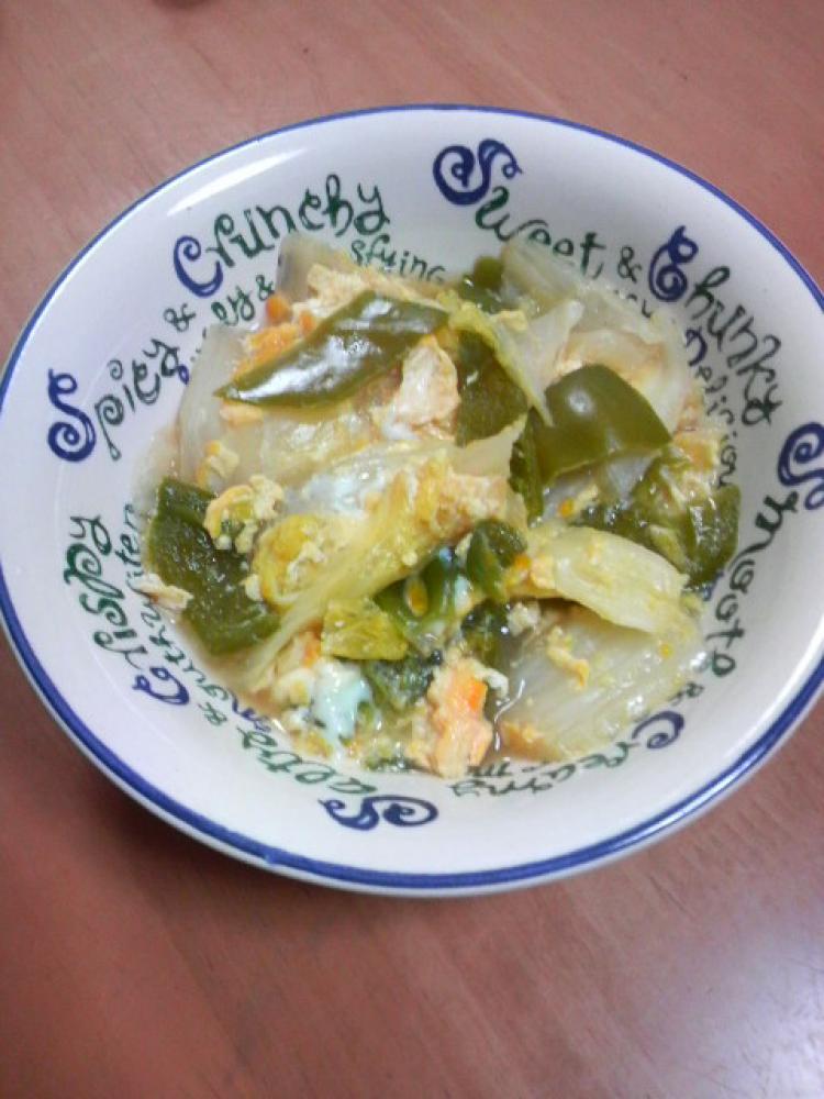白菜とピーマンの卵とじ
