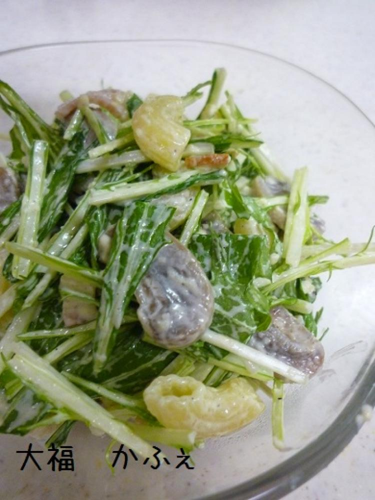 水菜たっぷりマカロニサラダ