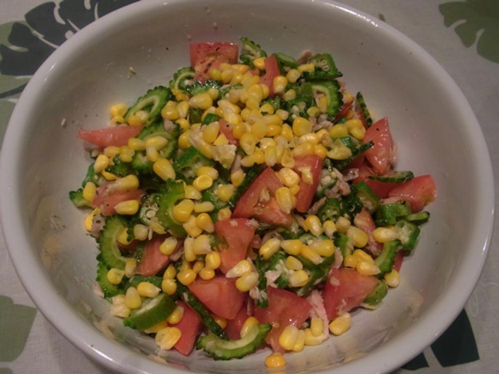 夏野菜たっぷりゴーヤのサラダ