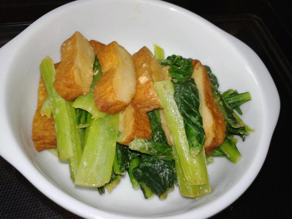 小松菜とさつま揚げのごましょうゆ炒め♪