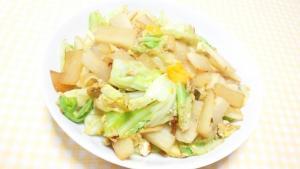 冷凍卵で 大根とキャベツと中華炒め