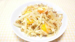半熟卵と細切り大根の中華風炒め