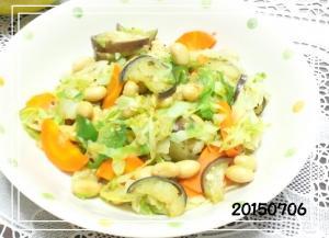 大豆水煮で 中華風夏野菜炒め