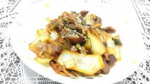 主菜・甜麺醤で砂肝野菜の中華味噌炒め