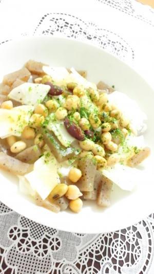 大根と蒟蒻と豆のコンソメ青のりサラダ
