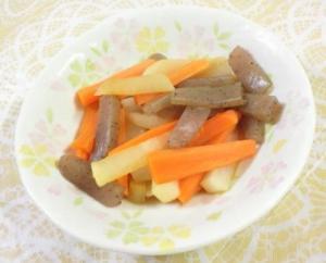 簡単 根菜と蒟蒻の和風醤油煮